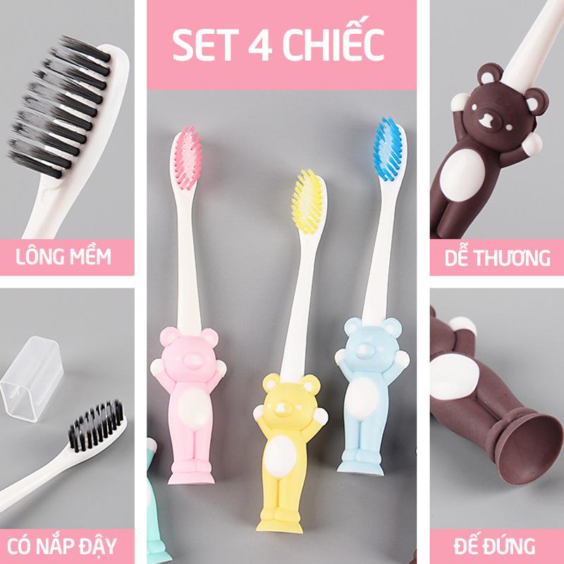 Bán buôn Set 4 bàn chải đánh răng cho bé giá sỉ - tongkhothienan.com