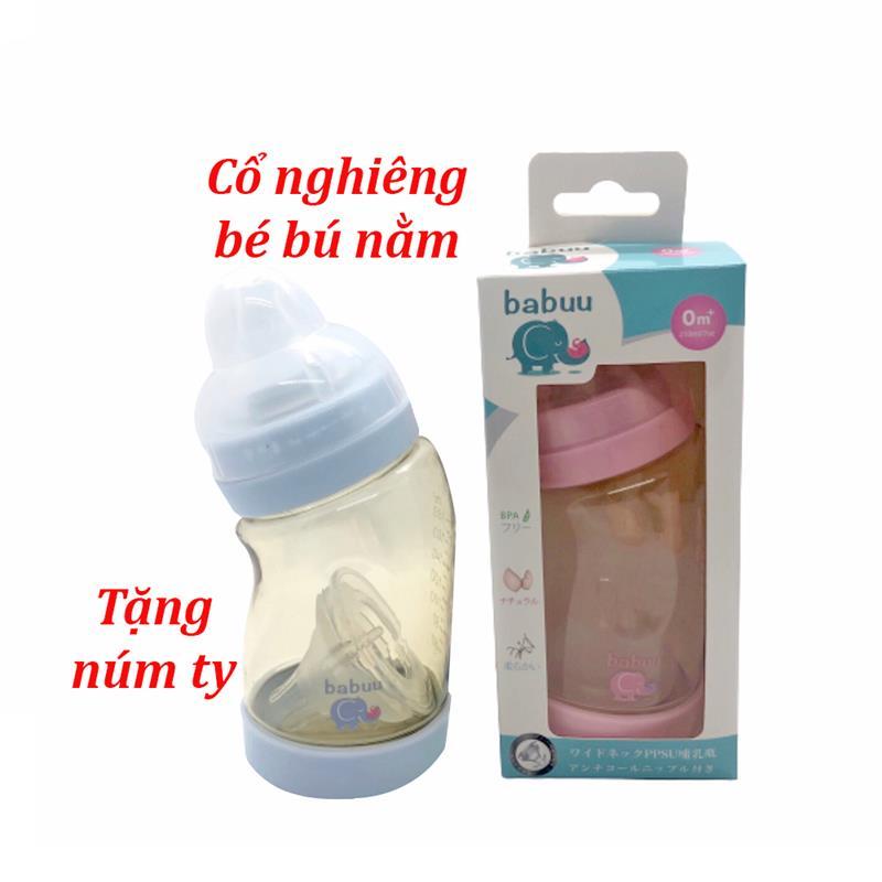 Bán buôn Bình sữa cổ nghiêng Babuu 260ml tặng 1 núm ti ( mẫu mới) giá sỉ - tongkhothienan.com