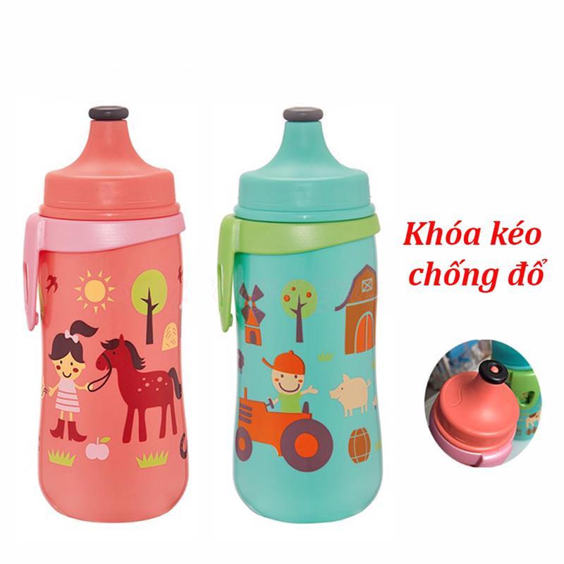 Bán buôn Bình uống nước Nip khóa kéo chống đổ 330ml giá sỉ - tongkhothienan.com