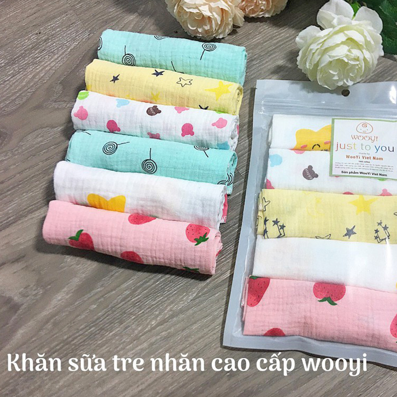 Bán buôn Túi 5 khăn sữa cho bé sợi tre Wooji giá sỉ - tongkhothienan.com