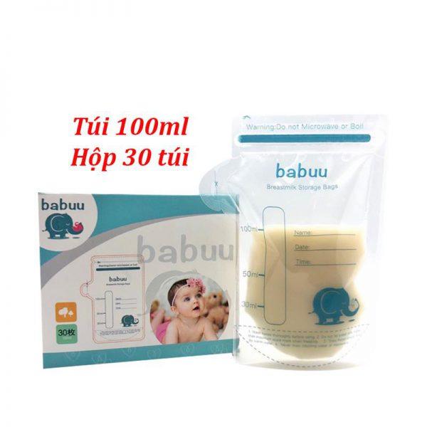 Bán buôn Túi trữ sữa mẹ Babuu 100ml hộp 30 túi giá sỉ - tongkhothienan.com
