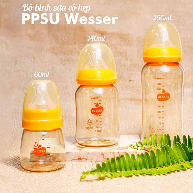 Bán buôn Bình sữa PPSU cao cấp Wesser cổ hẹp 250ml giá sỉ - tongkhothienan.com