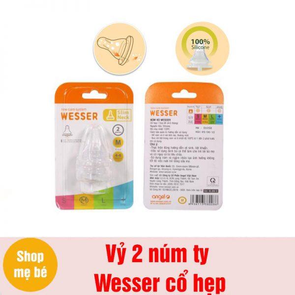 Bán buôn Vỷ 2 núm ti Wesser siêu mềm cho bình sữa cổ hẹp giá sỉ - tongkhothienan.com