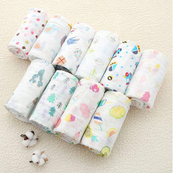 Bán buôn Khăn tắm cho bé Muslin( dạng cuộn) 110x110cm giá sỉ - tongkhothienan.com