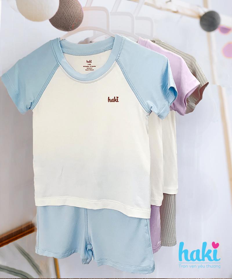 Bộ cộc tay Raglan sợi tre phối màu Haki BB022 Size 9-12m, 12-18m - tongkhothienan.com