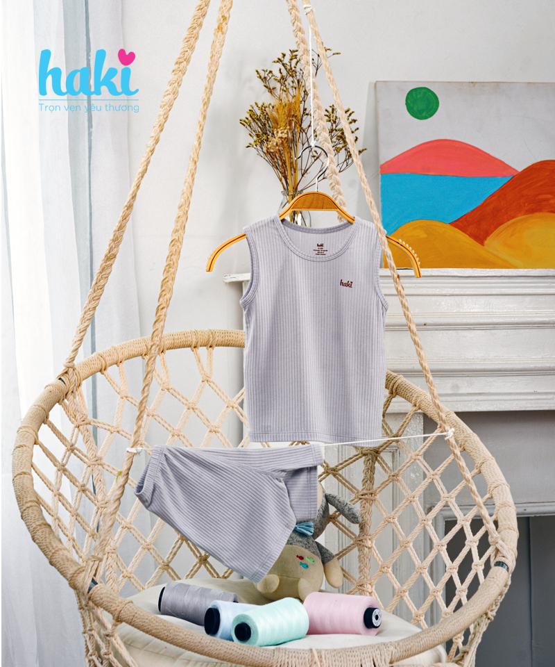 Bộ ba lỗ sát nách vải sồi Haki BM005 size 9-12m, 12-18m - tongkhothienan.com