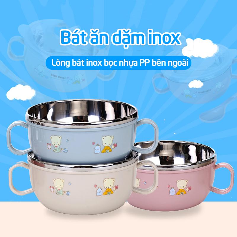 Bán buôn Bát inox kèm thìa có tay cầm chống nóng Babuu giá sỉ - tongkhothienan.com