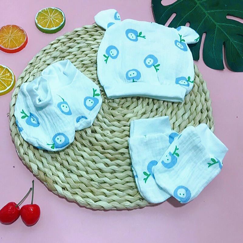 Set mũ và bao tay chân sơ sinh Wooji - tongkhothienan.com