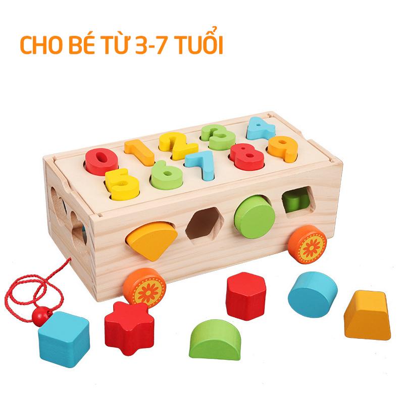 Xe thả gỗ hình học đồ chơi cho bé - tongkhothienan.com